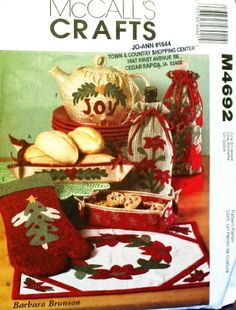 OOP McCalls Crafts Pattern M4692. Christmas Gift Items: Fabric Baskets/bowls, Oven Mitt, Tea Cozy Cover, Placemat & Bottle Bags McCall's http://www.amazon.com/gp/product/B000L5R40I/ref=as_li_tl?ie=UTF8&camp=1789&creative=390957&creativeASIN=B000L5R40I&linkCode=as2&tag=wonderfulrota0010-20&linkId=EKQNHXYZNHHMNJTK