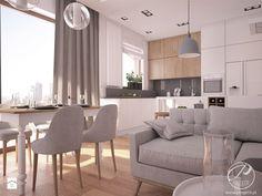 Apartamenty Marymont - Średnia otwarta kuchnia w kształcie litery l w aneksie z oknem, styl nowoczesny - zdjęcie od Progetti Architektura