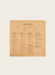 Camp and Furnace menu |  Smiling Wolf