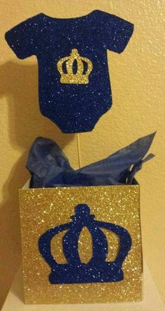 Royal Little Prince Blue Gold Centerpiece base container birthday party or Baby shower Table Decor Baby Shower Niño, Gold Baby Showers, Baby Shower Parties, Baby Shower Themes, Baby Shower Gifts, Royal Baby Shower Theme, Baby Shower Table Decorations, Baby Shower Centerpieces, Birthday Decorations