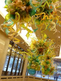 Dale Chihuly was commissioned by a grateful Mayo Clinic family  to make handblown chandeliers for the facility.  Not just ANY chandeliers...  but  THESE!!!: