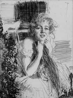 Emma Rasmussen, Zorn, Anders - Swedish (1860 - 1920) Item type:Portrait Etching, 1904, Hjert & Hjert 122, first state, rare. Signed in pencil. 7 7/8 x 5 7/8