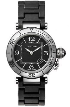 W3140003 NEW CARTIER PASHA SEATIMER STEEL LADIES WATCH    Usually ships within 8 weeks - FREE Overnight Shipping- NO SALES TAX (Outside California)- WITH MANUFACTURER SERIAL NUMBERS- Black Dial- Luminescent Sword Shaped Hands  - Battery Operated Quartz Movement - 3 Year Warranty- Guaranteed Authentic- Certificate of Authenticity- Manufacturer Box