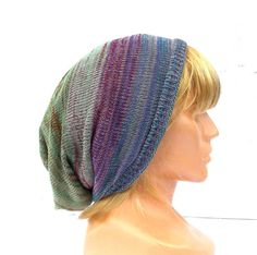 Knitted cotton hat knit multicolor cap  by peonijahandmadeshop
