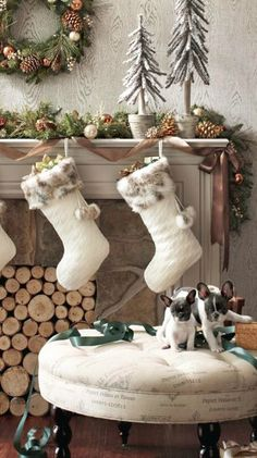 Rustic holiday decor   Stockings from Pier 1...faux fur trim, of course!