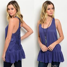 Lace Back Ruffle Tank Blouse Simply amazing tank style blouse! Beautiful crochet lace in back, with racerback cut. Navy/dark periwinkle color. So gorge!                            ⚜www.lovelionessie.com⚜   Price is for one  100% Viscose  S: 3-5, M: 7-9, L: 11-13  ❌No trades, no PayPal, no holds Instagram: @lovelionessie ⚜www.lovelionessie.com⚜ Tops Tank Tops