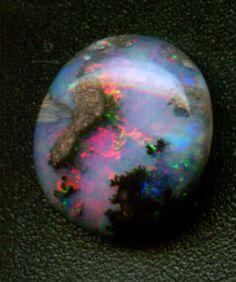 Dendritic Boulder Opal from Honduras. Opal is my birthstone ; Cool Rocks, Beautiful Rocks, Minerals And Gemstones, Rocks And Minerals, Rock Collection, Mineral Stone, Rocks And Gems, Stones And Crystals, Gem Stones