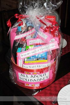 """All About You"" basket!  What a cute idea!"