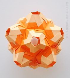 Origami Fiesta Kusudama Tutorial - Designed by Maria Vakhrusheva; 30 modules, Kami paper.
