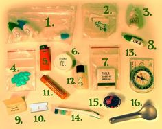 My little baggie of important dinky stuff  toiletries to add to first aid kit.