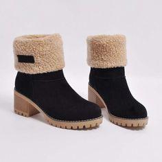 d78ed92993f58c Damen Falte über Stiefel Warm klobige Ferse Winter Schnee Stiefel (5  Farben) Winter Stiefeletten