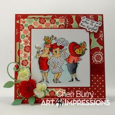 Art Impressions Rubber Stamps: Ai Girlfriends: Got Style from Michael's. ...handmade friendship card. red hat ladies