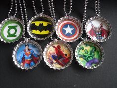 Superheroes in bottle caps