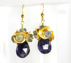 Rich blue chalcedony earrings labradorite beads by julwelry