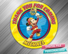 Mickey Roadster Racers Favor Tag