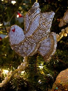 White and gold beaded dove    Christmas tree ornaments,  Formal or Victorian themed tree