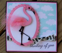 Flamingo thinking of you card  Cricut cartridge life's a beach