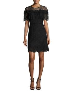 Kobi Halperin Vivi Short-sleeve Popover Lace Cocktail Dress, White In Black Dress Outfits, Fashion Outfits, Womens Fashion, Black Cocktail Dress, Fashion Over 40, Dresser, Luxury Fashion, Cold Shoulder Dress, White Dress
