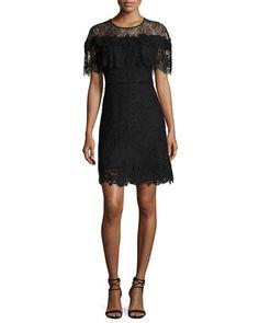 Kobi Halperin Vivi Short-sleeve Popover Lace Cocktail Dress, White In Black Dress Outfits, Fashion Outfits, Women's Fashion, Black Cocktail Dress, Fashion Over 40, Dresser, Luxury Fashion, Cold Shoulder Dress, White Dress