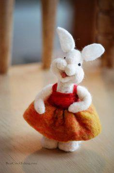 Needle Felted wool Bunny Rabbit Felted by BearCreekDesign