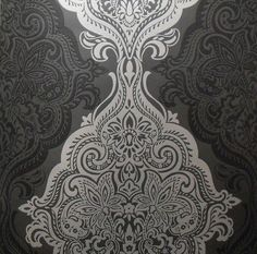 black/silver damask wallpaper in the closet and silver walls in the bedroom with black accents!!!!