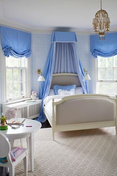 House of Turquoise~bed crown Girls Bedroom, Blue Bedroom, Trendy Bedroom, Dream Bedroom, Girls Canopy, Bedroom Ideas, Bedroom Rugs, Bedroom Interiors, Bedroom Bed