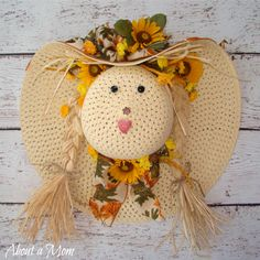 Straw Hat Scarecrow Fall Wreath  |  AboutAMom.com