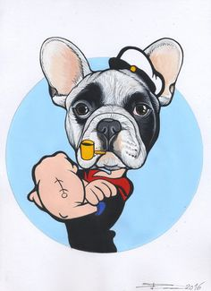 Frenchie sketch as Popeye the sailor from the sketchbook of Jeroen Teunen / The Dog Painter