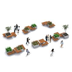 Modern Picnic Table allowing playful configurations for office garden