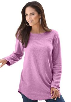 06da727e0aa20 Roamans Women s Plus Size Sherpa Fleece Tunic (English Rose