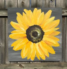 Sunflower Painting on Wood Panel Original by ClarabelleArte