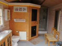 Bath house with sauna and shower
