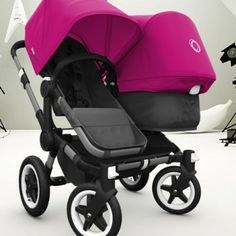 Bugaboo Donkey Duo with Black Base and Pink Fabric - Double Strollers - Strollers