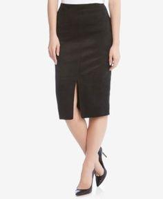 Karen Kane Faux-Suede Pencil Skirt - Black