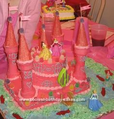 Pink Castle Cake: I made this pink castle cake for my niece's 6th birthday party, but it was a hit with all the adults as well as the kids!  As you can see it is pink.