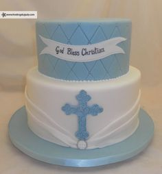 Baby Boy baptism cake, white and light blue, ribbon and cross, quilted and 2 tier