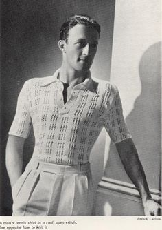 Items similar to Vintage Sweater Pattern for Men, wool, knitting pattern on Etsy Tennis Outfits, Tennis Clothes, 1930s Fashion, Vintage Fashion, Patterns Background, Vintage Outfits, Mens Fashion Sweaters, Fashion Shirts, Vintage Tennis