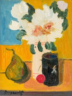 Georges Borgeaud - Pivoine, 1978 - Huile sur toile, 35x27 cm. Painting, Art, Peony, Oil On Canvas, Art Background, Painting Art, Kunst, Paintings, Performing Arts