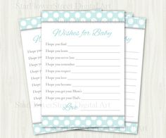 Wishes for Baby polka dot aqua gray turquoise boy blue grey white cards printable digital download baby shower decoration well wish advice by StarFlowerStreetDA