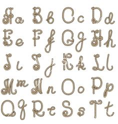 Old rope alphabet from a to t vector by bogadeva1983 on VectorStock®