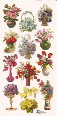 Vaasje & mandjes met bloemen poezieplaatjes Stickers C24