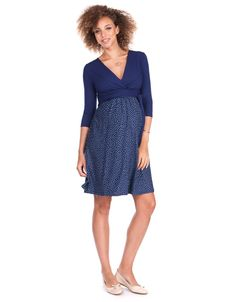 Navy Blue Crossover Maternity & Nursing Dress | Seraphine