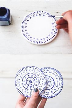 Diy Crafts - Poppytalk: 9 Weekend Projects to Try - DIY Coasters Make these pretty coasters out of polymer clay and porcelain paint. From The Lovely Handmade Christmas Gifts, Christmas Diy, Homemade Christmas, Holiday Gifts, Weekend Projects, Projects To Try, Weekend Jobs, Weekend Weather, Weekend Events
