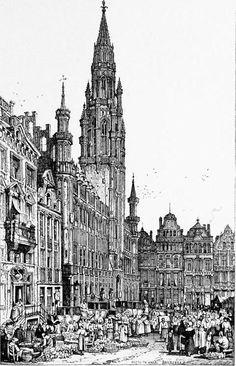 Samuel Prout (1783-1852) - Hotel de Ville, Brussells, 1839