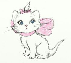 cat - drawing One of the Aristocats from the Disney. Art Disney, Disney Kunst, Disney Love, Disney Sketches, Disney Drawings, Croquis Disney, Kitten Drawing, Gata Marie, White Kittens