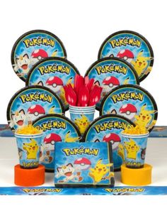 Pokemon Birthday Party Birthday Party Deluxe Tableware Kit Serves 8| BirthdayInaBox.com