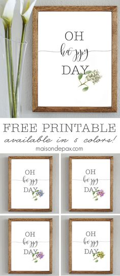 Oh Happy Day | Free spring printable available in 5 colors from maisondepax.com