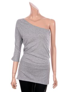 VICTORIA Sexy One Shoulder 3/4 Sleeve Slim Fit Tops Tees T Shirts Heather Gray 4 #VictoriasSecret #Sexy #Casual