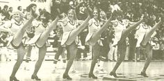 Oregon cheerleaders 1974-75 at McArthur Court. From the 1975 Oregana (University of Oregon yearbook). www.CampusAttic.com