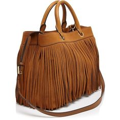 Milly Essex Suede Fringe Tote ($510) ❤ liked on Polyvore featuring bags, handbags, tote bags, shopping bag, tote handbags, brown purse, fringe purse and shopping tote